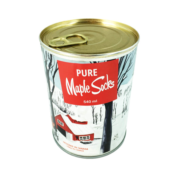 Maple syrup and pancake socks in a can with a specially designed vintage style label. Designed in Canada, socks made in Italy