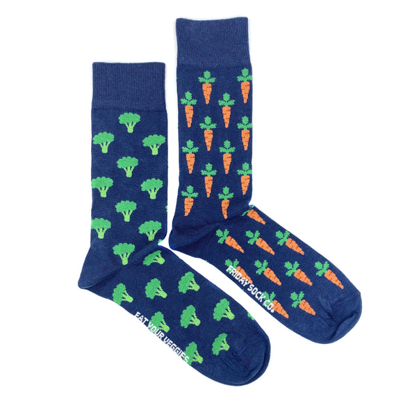 Blue broccoli and carrot mismatched socks, ethically made in Italy, Designed in Canada