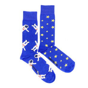 Blue Astronaut and Stars mismatched socks, ethically made in Italy, Designed in Canada