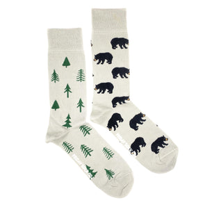 Bear and Trees mismatched mens socks, ethically made in Italy, Designed in Canada