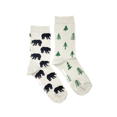 Bear and Trees mismatched womens socks, ethically made in Italy, Designed in Canada