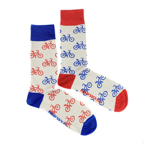 Blue and red bicycle mismatched socks, ethically made in Italy, Designed in Canada