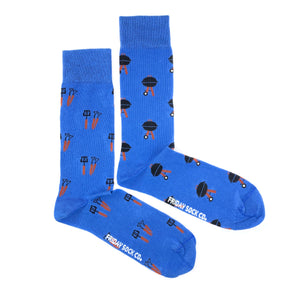 Blue bbq and utensils mismatched socks, ethically made in Italy, Designed in Canada