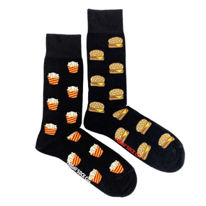 Black burger and fries mismatched socks, ethically made in Italy, Designed in Canada