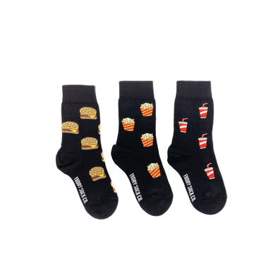 Black burger, fries, soda mismatched kids socks, ethically made in Italy, Designed in Canada