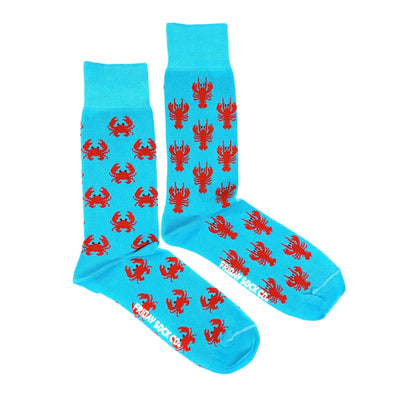 Crab and Lobster mens socks mismatched, designed in Canada, ethically made in Italy