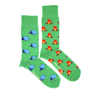 Tent and camp fire green mismatched socks, designed in canada, ethically made in italy