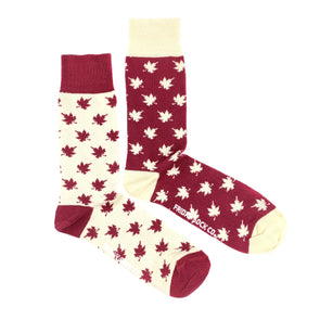 Canada Leaf mismatched mens socks, ethically made in Italy, Designed in Canada