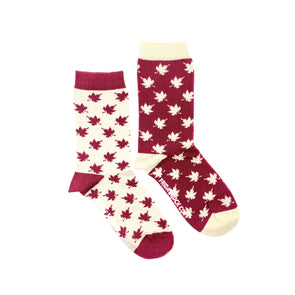 Canada Leaf mismatched womens socks, ethically made in Italy, Designed in Canada