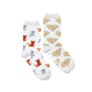 Cat and Box mismatched womens socks, ethically made in Italy, Designed in Canada