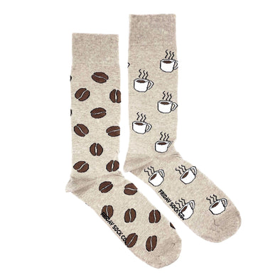 Coffee and beans mismatched socks, ethically made in Italy, Designed in Canada