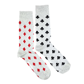 Diamonds and Clubs mismatched socks. Designed in Canada and ethically made in Italy.