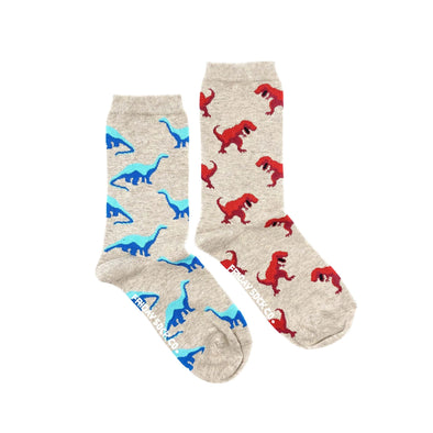 Dinosaurs mismatched socks, ethically made in Italy, Designed in Canada