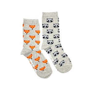 Fox and Raccoon womens mismatched socks, ethically made in Italy, Designed in Canada