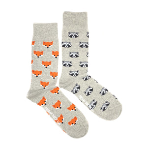 Fox and Raccoon mismatched mens socks, ethically made in Italy, Designed in Canada
