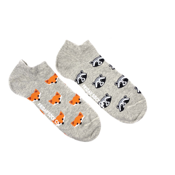 Fox and Raccoon mismatched ankle socks, ethically made in Italy, Designed in Canada