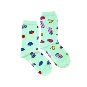 Gemstones mismatched womens socks, ethically made in Italy, Designed in Canada