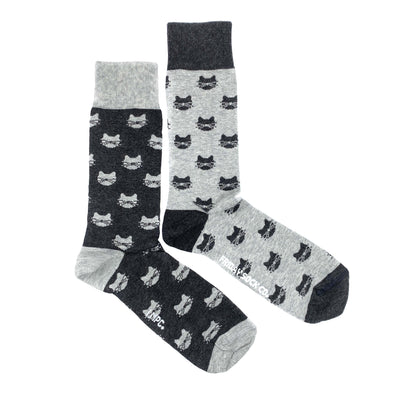 Grey cats mismatched socks, ethically made in italy, designed in canada