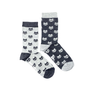 Grey Cats mismatched womens socks, ethically made in Italy, Designed in Canada