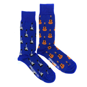 Blue guitars mismatched socks, ethically made in Italy, Designed in Canada