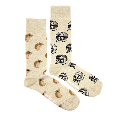 Hamster and Wheel mismatched socks, ethically made in Italy, Designed in Canada