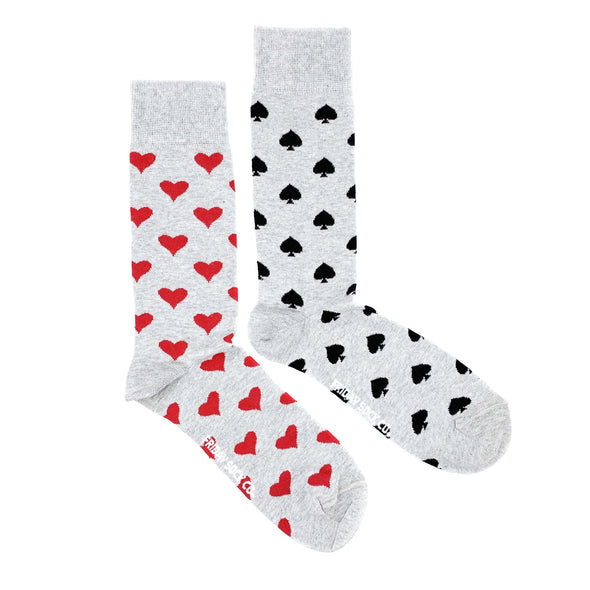 grey spade and heart mens mismatched socks, designed in canada and made in italy