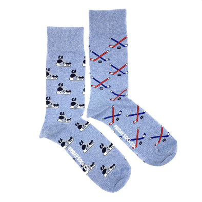 Hockey stick and skate blue mismatched mens socks, designed in calgary, made in italy