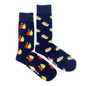 Blue Hotdog and Condiments mismatched socks, ethically made in Italy, Designed in Canada