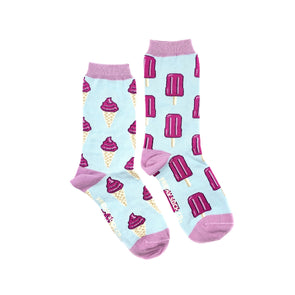 Icecream and popsicle mismatched socks, ethically made in Italy, Designed in Canada