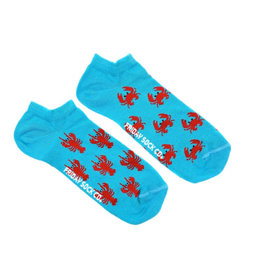 Crab and Lobster mens ankle socks mismatched, designed in Canada, ethically made in Italy