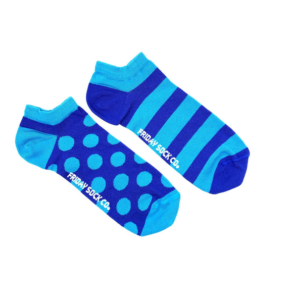 Polka dot and stripe mens sock, blue, ethically made in Italy, designed in canada