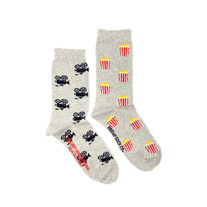 Movie Camera and Popcorn mismatched socks, designed in Canada, made in Italy