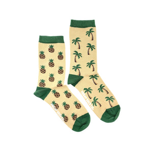Palm tree and Pineapple womens socks, mismatched socks, ethically made in Italy, Designed in Canada