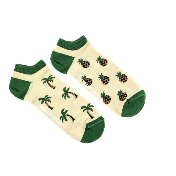 Palm tree and Pineapple ankle socks, mismatched socks, ethically made in Italy, Designed in Canada