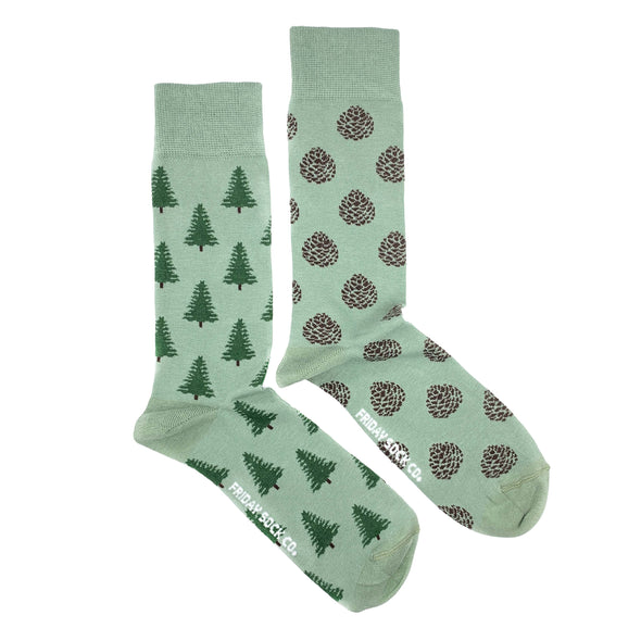 Green Pinecone and Pine tree mismatched socks, ethically made in Italy, Designed in Canada