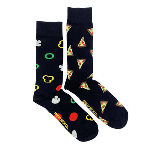 Black Pizza mismatched socks, ethically made in Italy, Designed in Canada