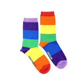 Pride Socks, Rainbows mismatched socks, ethically made in Italy, Designed in Canada