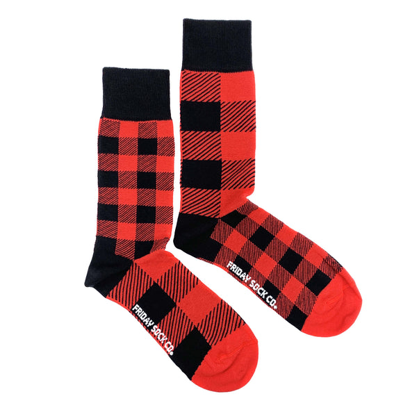 Red and Black Plaid mens mismatched, designed in canada, ethically made in italy