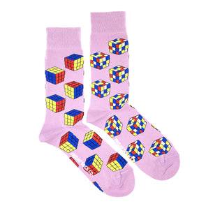 Rubiks cube pink mismatched socks, one solved, ethically made in italy, designed in canada