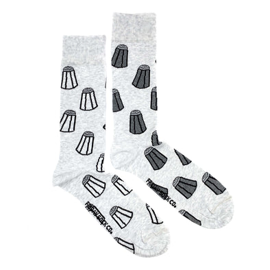 Grey Salt and Pepper mismatched socks, ethically made in Italy, Designed in Canada