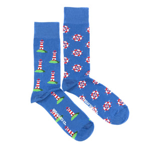 Lighthouse and Ship wheel mismatched socks, made in Italy, Designed in Canada