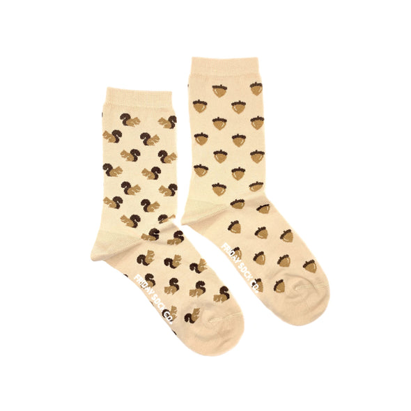 Squirrel and Acorn, brown and tan womens socks, mismatched, designed in canada