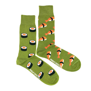 Green sushi and sashimi mismatched socks, ethically made in Italy, Designed in Canada