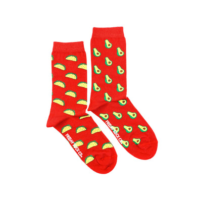 Taco and Avocado crew red, mismatched, designed in canada