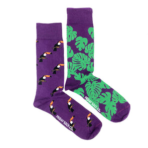 Purple Toucan and  Monstera mismatched mens socks, ethically made in Italy, Designed in Canada