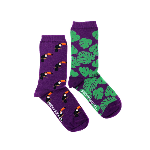 Purple Toucan and  Monstera mismatched womens socks, ethically made in Italy, Designed in Canad