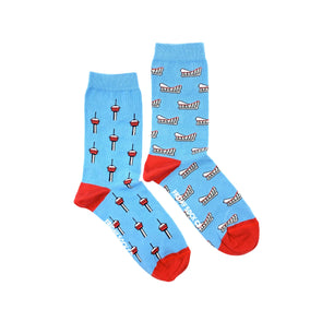 blue calgary mismatched socks, ethically made in Italy, Designed in Canada