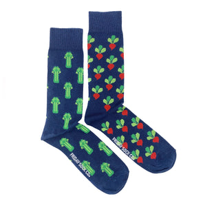 Blue Celery and Radish mismatched socks, ethically made in Italy, Designed in Canada