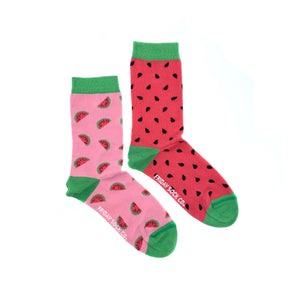 Watermelon and seeds mismatched socks, ethically made in Italy, Designed in Canada