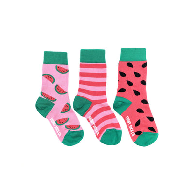 Watermelon, seeds and stripes, 3 to a pair kids mismatched socks, ethically made in Italy, Designed in Canada